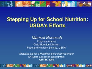 Stepping Up for School Nutrition: USDA's Efforts
