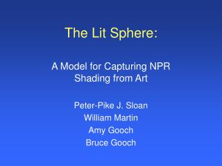 The Lit Sphere: