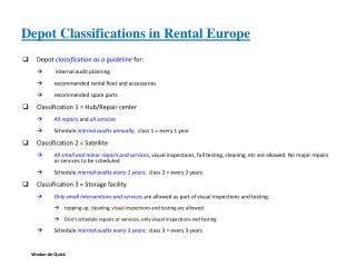 Depot Classifications in Rental Europe