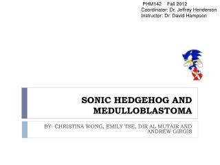 SONIC HEDGEHOG AND MEDULLOBLASTOMA