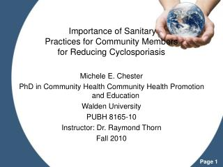 Importance of Sanitary  Practices for Community Members  for Reducing Cyclosporiasis