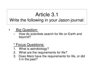 Article 3.1 Write the following in your Jason journal:
