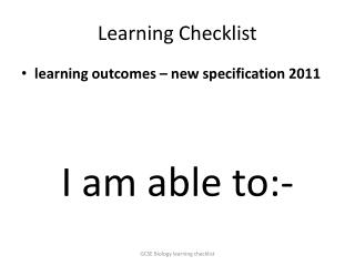 Learning Checklist