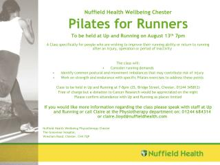 Nuffield Health Wellbeing Chester Pilates for Runners
