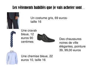 Les v �tements habill�s que je vais acheter sont �
