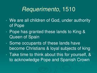 Requerimento, 1510