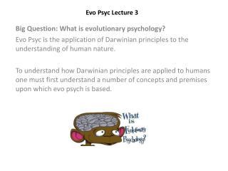 Evo Psyc  Lecture 3