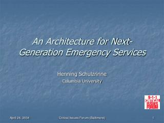 An Architecture for Next-Generation Emergency Services