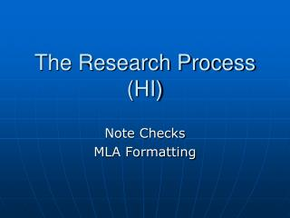 The Research Process (HI)