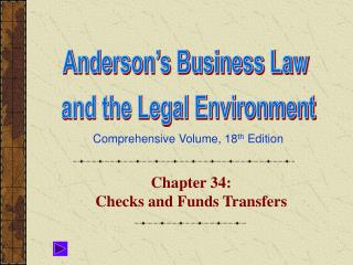 Chapter 34:  Checks and Funds Transfers
