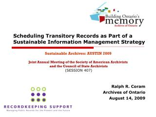 Scheduling Transitory Records as Part of a Sustainable Information Management Strategy
