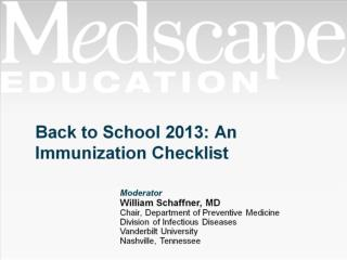 Back to School 2013: An Immunization Checklist