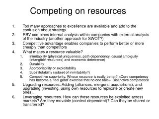 Competing on resources