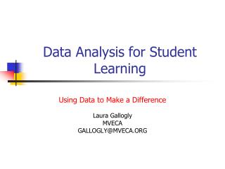 Data Analysis for Student Learning