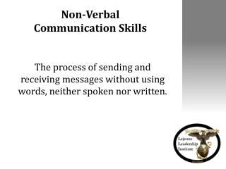 Non-Verbal  Communication Skills