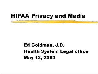 HIPAA Privacy and Media