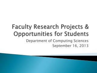 Faculty Research Projects & Opportunities for Students