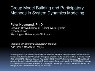 Group Model Building and Participatory Methods in System Dynamics Modeling