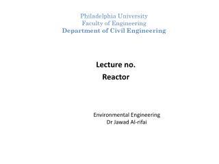 Environmental Engineering Dr Jawad Al-rifai