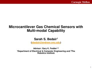 Microcantilever Gas Chemical Sensors with Multi-modal Capability
