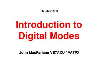 Introduction to Digital Modes