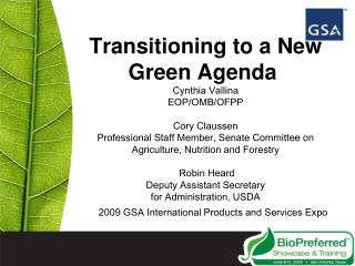 Transitioning to a New Green Agenda  Cynthia Vallina EOP
