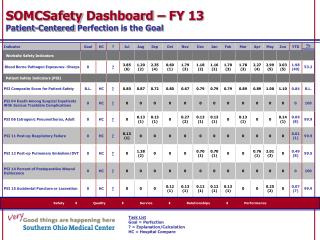 SOMCSafety  Dashboard – FY  13 Patient-Centered  Perfection  is the Goal