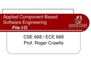 Applied Component-Based  Software Engineering File I/O