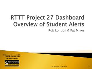 RTTT Project 27 Dashboard  Overview of Student Alerts