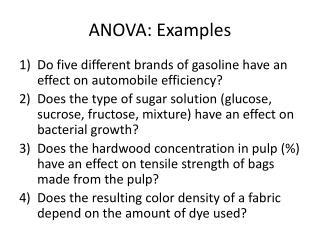 ANOVA: Examples