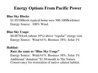 Energy Options From Pacific Power