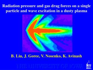 Radiation pressure and gas drag forces on a single particle and wave excitation in a dusty plasma