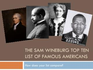 The  sam wineburg  Top ten list of famous  americans