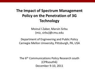 The Impact of Spectrum Management Policy on the Penetration of 3G Technology