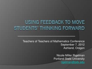 Using Feedback to Move Students' Thinking Forward