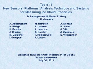 Topic  11 New  Sensors, Platforms, Analysis Technique and Systems