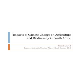 Impacts of Climate Change on Agriculture and Biodiversity in South Africa