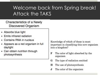 Welcome back from Spring break! Attack the TAKS