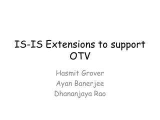 IS-IS Extensions to support OTV