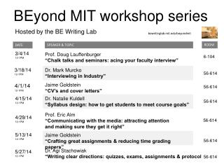 BEyond  MIT workshop series