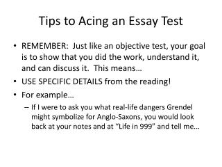 Tips to Acing an Essay Test
