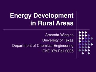 Energy Development in Rural Areas