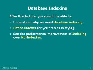 Database Indexing