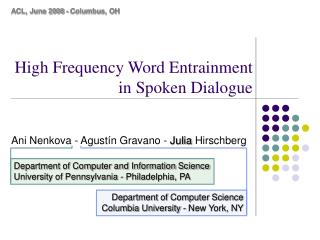 High Frequency Word Entrainment in Spoken Dialogue