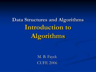 Data Structures and Algorithms  Introduction to Algorithms