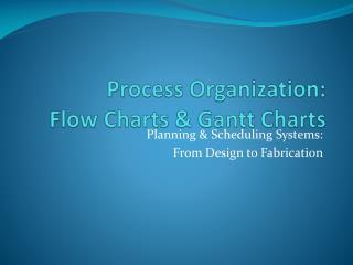 Process Organization: Flow Charts & Gantt Charts