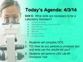 Today's Agenda: 4/3/14