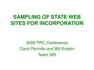 SAMPLING OF STATE WEB SITES FOR INCORPORATION