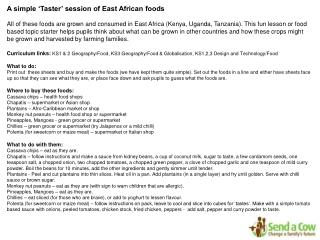 A simple 'Taster' session of East African foods