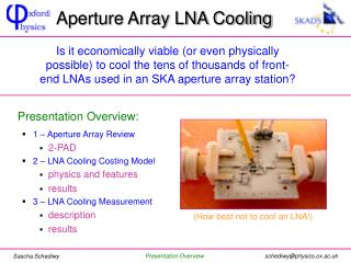 Aperture Array LNA Cooling